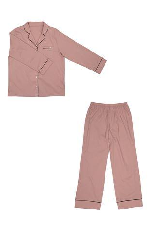 綿混布帛無地衿付き前開き長袖パジャマ|パジャマ
