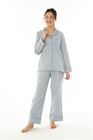綿100%布帛ストライプ衿付き前開き長袖パジャマ|パジャマ