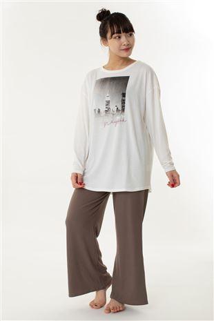 ベア天Tシャツ×リブパンツ長袖パジャマ|
