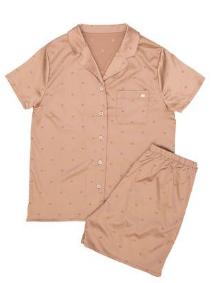 サテンジャガードハート襟付き前開き半袖パジャマ|パジャマ