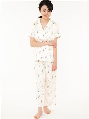 サテンソフトクリーム柄衿付き前開き半袖パジャマ|パジャマ
