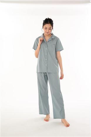 綿レーヨン布帛前開き半袖パジャマ|パジャマ