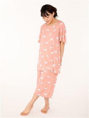 ねこ柄レーヨンベア天竺半袖パジャマ パジャマ