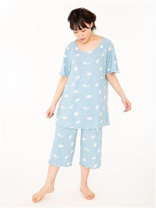 ねこ柄レーヨンベア天竺半袖パジャマ|