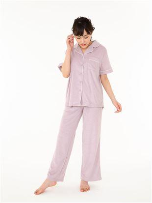 パイル無地衿付き前開き半袖パジャマ|パジャマ