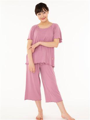 ベア天無地リボンフレアパンツ半袖パジャマ パジャマ