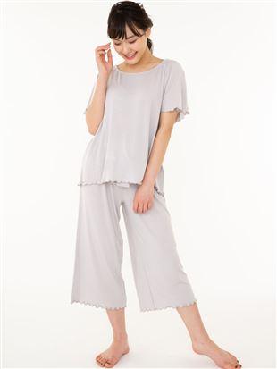 ベア天無地リボンフレアパンツ半袖パジャマ|