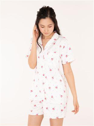 レトロ花柄襟付き前開きサテン半袖パジャマ|