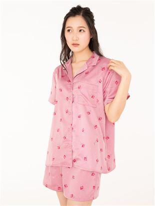 レトロ花柄襟付き前開きサテン半袖パジャマ|パジャマ