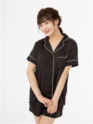ヴィンテージ風サテン衿付半袖パジャマ|パジャマ