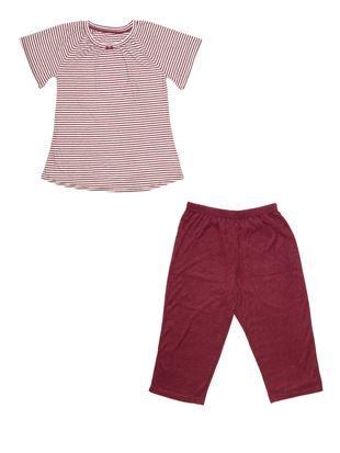 パイル細ボーダーチュニック7分丈半袖パジャマ|
