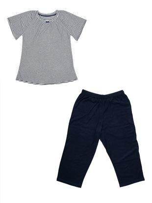 パイル細ボーダーチュニック7分丈半袖パジャマ|パジャマ