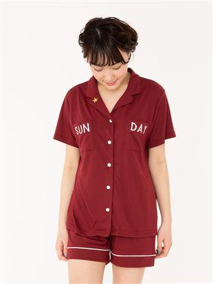 ロゴ刺繍天竺前開き半袖パジャマ パジャマ