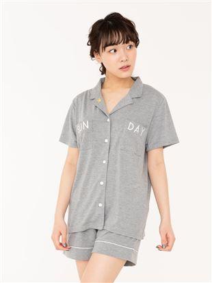 ロゴ刺繍天竺前開き半袖パジャマ|