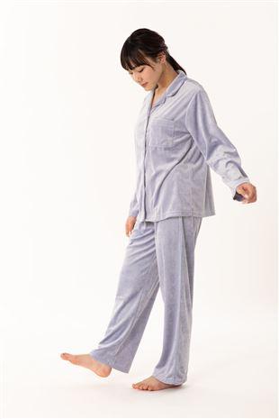 ベロア襟付き無地前開き長袖パジャマ|