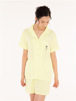 布帛パフェ刺繍衿付き前開半袖パジャマ|