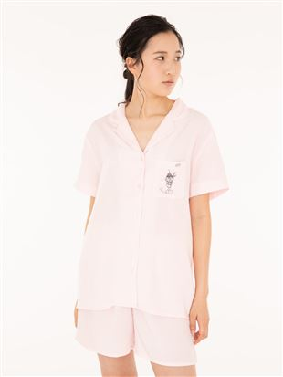 布帛パフェ刺繍衿付き前開半袖パジャマ|パジャマ