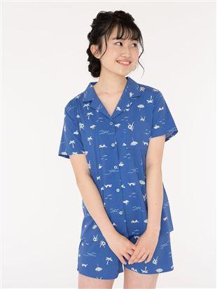 レーヨン布帛前開きリゾート柄半袖パジャマ|