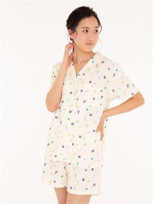 シェル柄パイル前開き半袖パジャマ|