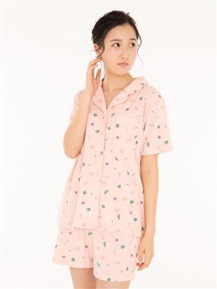 シェル柄パイル前開き半袖パジャマ パジャマ