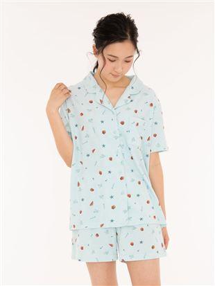 シェル柄パイル前開き半袖パジャマ|パジャマ