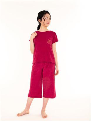 ねこ刺繍パイル半袖パジャマ|