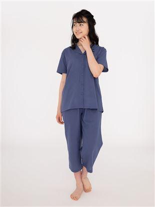 無地綿麻布帛パジャマ(半袖×7分丈パンツ)|パジャマ