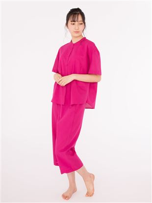 綿サッカー無地スタンド衿前開き半袖パジャマ|