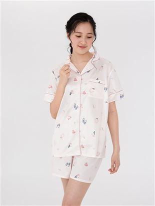 サテンビーチ柄前開き半袖パジャマ|パジャマ
