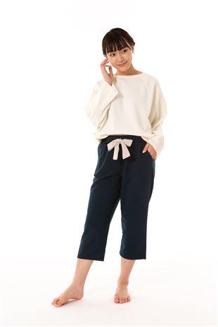 綿混裏毛無地リボン付き7分丈パンツ|