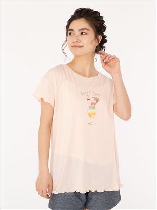 ソーダ柄メローフリルTシャツ|トップス