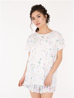花柄メローフリルTシャツ|