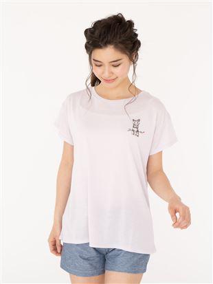 猫ドロップショルダーTシャツ|