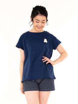 くま刺繍綿スムースドロップショルダーTシャツ|トップス