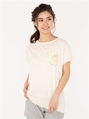 花柄ポケット袖口メローTシャツ|