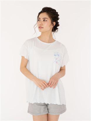花柄ポケット袖口メローTシャツ|トップス