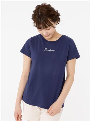 筆記体ロゴプリント綿天竺Tシャツ|