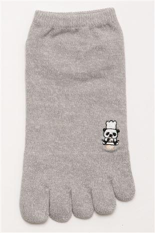 パンダのパン屋左右柄違い刺繍5本指くるぶしソックス|