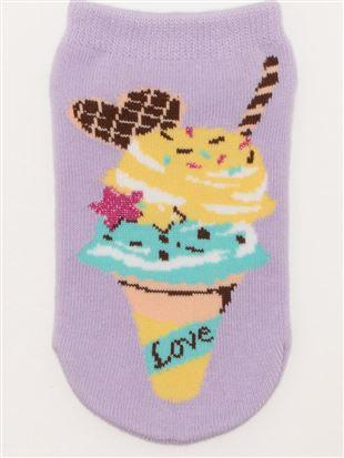 [キッズ]アイスクリーム柄綿混くるぶしソックス|