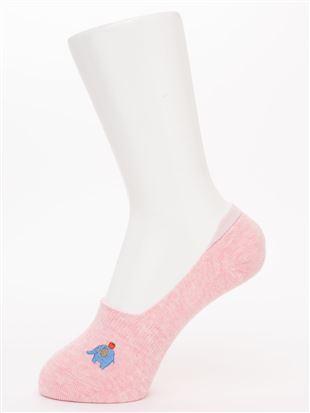 象とりんご刺繍綿混深履きカバーソックス|カバーソックス・フットカバー