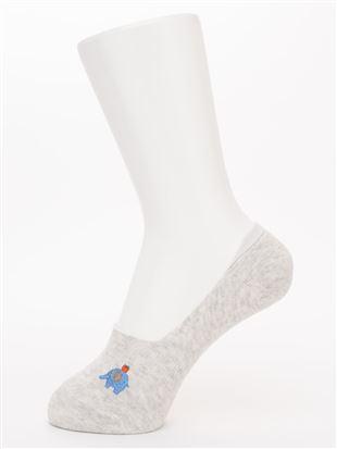 象とりんご刺繍綿混深履きカバーソックス|