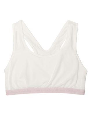 [tutuプチ]STEP2・ジュニア用スポーツブラ(白×ピンクロゴ)|ジュニア用ブラ・キャミ