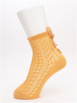 綿混ルミー編み上げオーガンジーリボン付きソックス14cm丈|