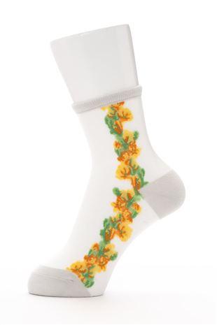 [レディライン]シースルーサイドライン花柄ソックス14cm丈|クルーソックス