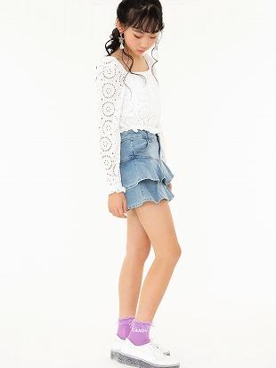 [ガールズ]綿混履き口レースCANDYロゴソックス13cm丈|クルーソックス