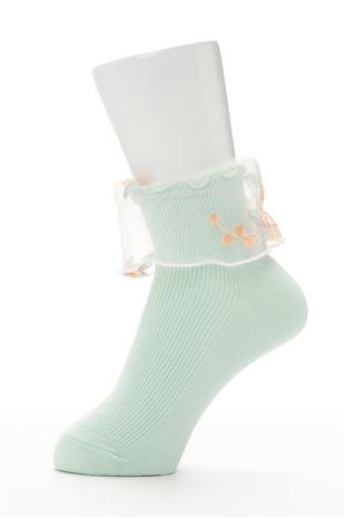 リブ履き口花柄刺繍チュールソックス11cm丈|クルーソックス
