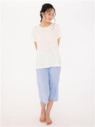 パイル水玉柄半袖パジャマ|パジャマ
