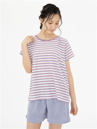 パイルマルチボーダー柄半袖パジャマ|パジャマ