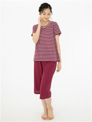天竺ボーダー柄半袖パジャマ|パジャマ