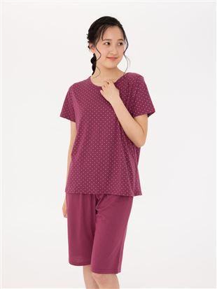 天竺仁丹ドット柄半袖パジャマ|パジャマ